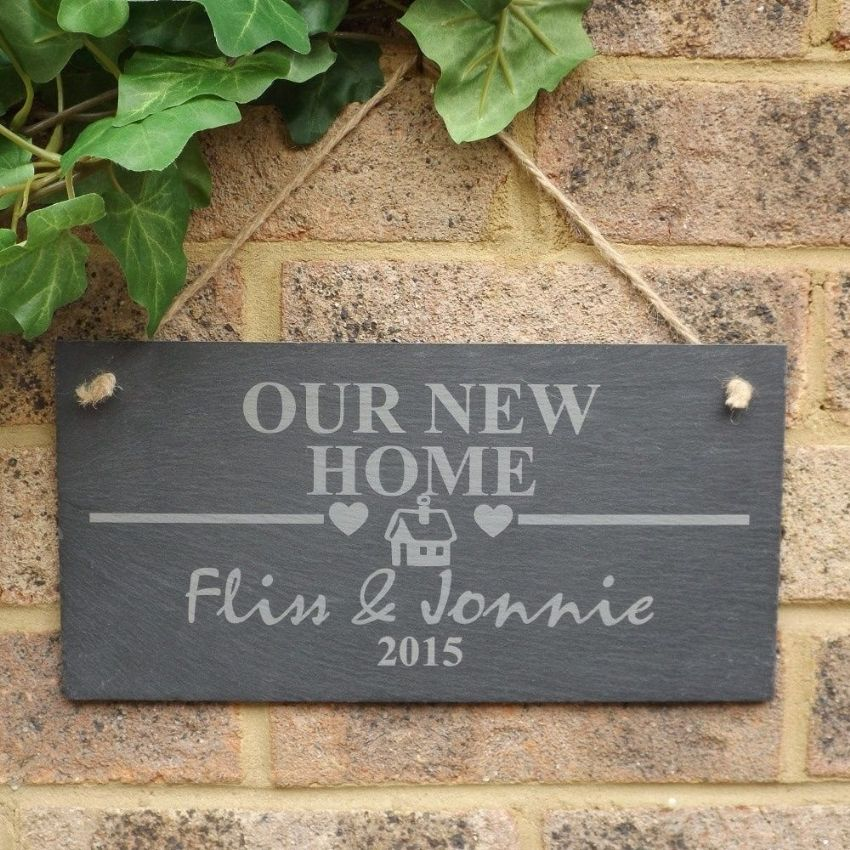 Engraved New Home Slate Sign Plaque Housewarming, First Home Gift